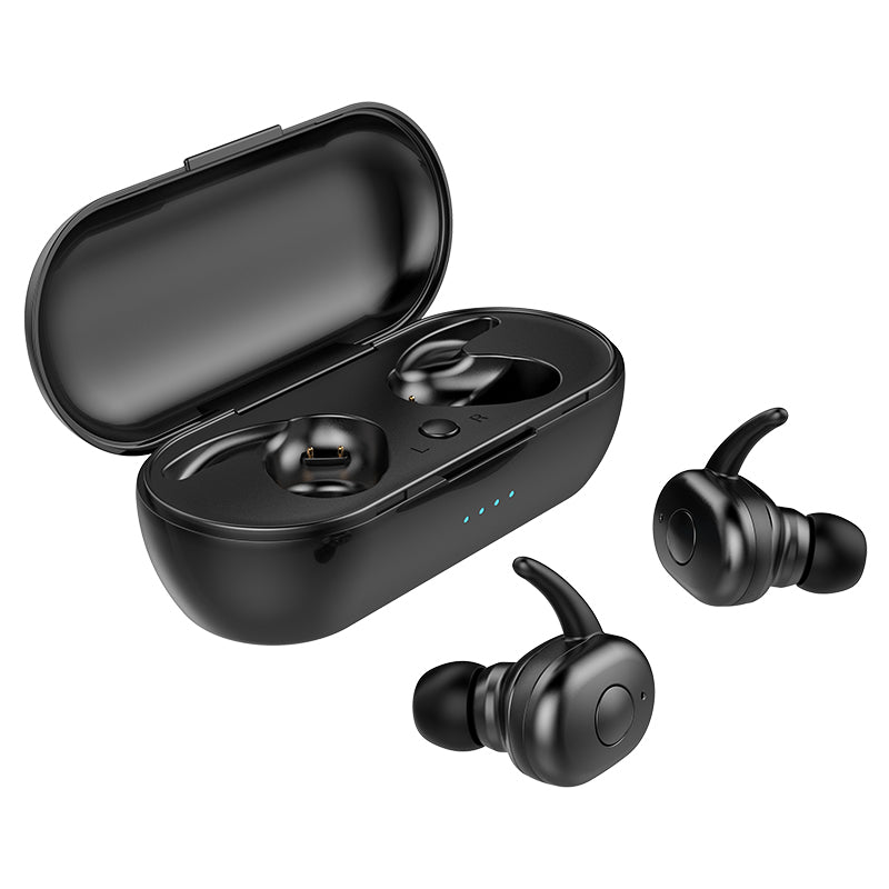Two True wireless bluetooth earbuds outside of matching black USB charger case