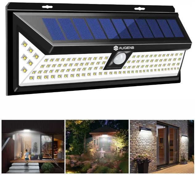 Garden Wall Light 118LED Solar PIR Motion Sensor Environmental Outdoor Waterproof Lamp Flood Light