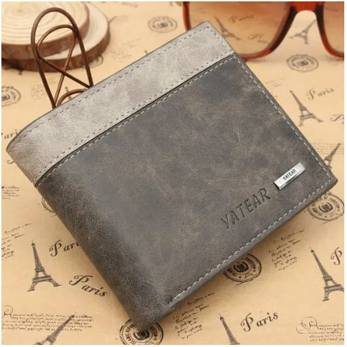 YATEAR Men's Genuine Leather Bifold Wallet ID Business Credit Card Holder