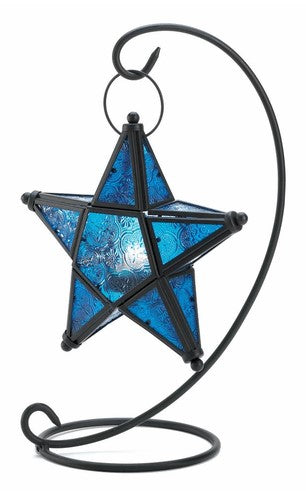 Hanging Star Colored Glass Tealight Candle Lantern Metal Frame with Stand