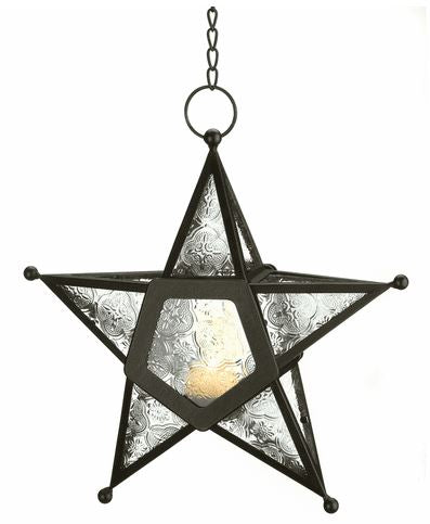 Hanging Star Colored Glass Tealight Candle Lantern Metal Frame