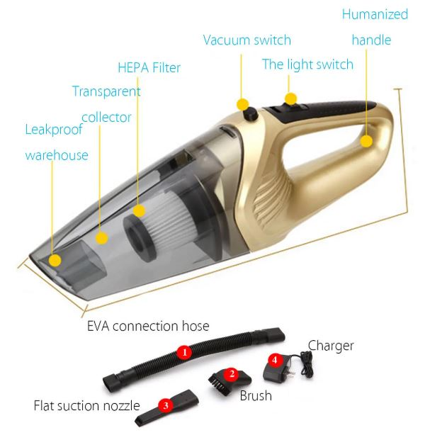 120W LED Compact Rechargeable Car Cordless Wet Dry Portable Home Vacuum Cleaner