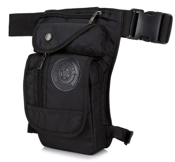 HAOSHUAI Waterproof Nylon Motorcycle Drop Leg Bag Men Tactical Outdoor Waist Fanny Pack