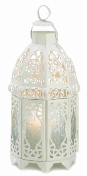 Decorative Lantern Metal Lattice Lantern with Frosted Glass Elegant