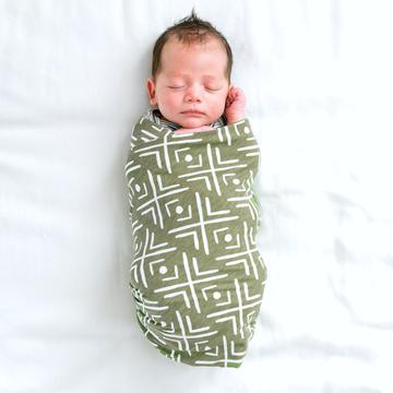 Olive Mudcloth Stretchy Swaddle