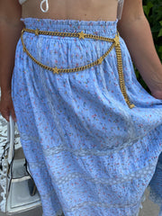 St. John Vintage Gold Glitter Star Chain Belt
