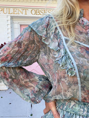 Beatrix Ruffled Floral Button-Down Blouse-Mystical Foliage