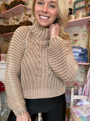 Sweetheart Cable Sweater in Sandcastle