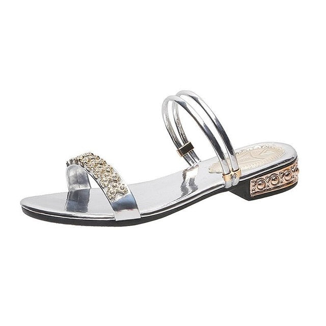 Summer Women Sandals Bling Pumps Shoes Comfort Ladies Woman Sandalie Gold Silver High Heels Female Footwear  Slip On Sandals