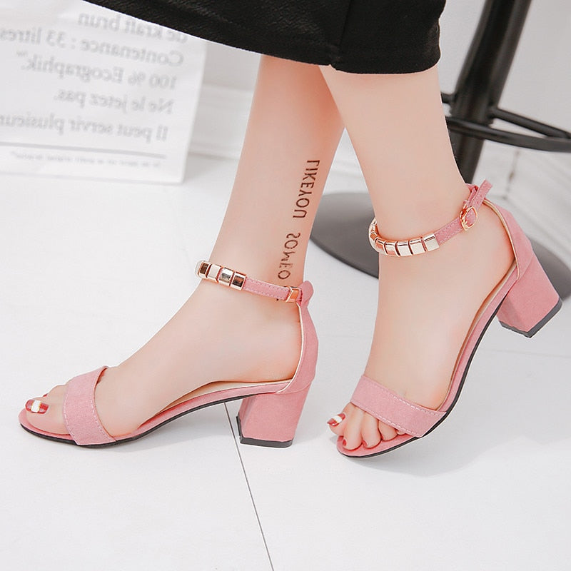 metal String Bead Summer Women Sandals Open Toe shoes Women's Sandles Square heel Women Shoes Korean Style Gladiator Shoes