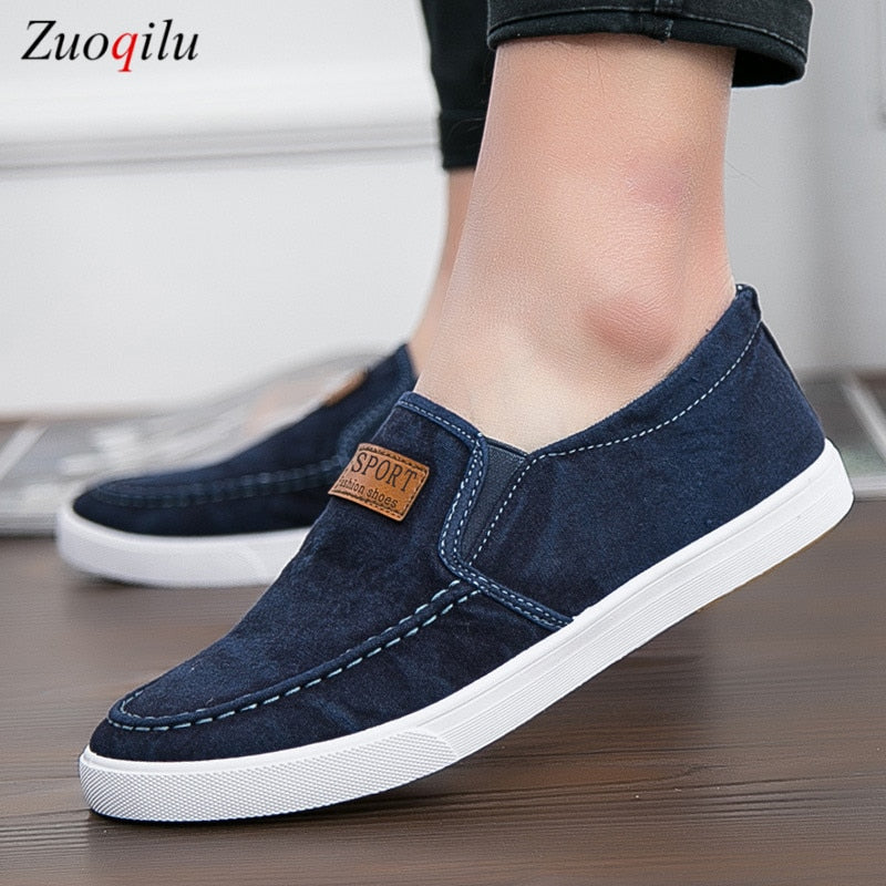 mens shoes casual Denim Male sneaker Slip on Loafers Men Canvas Shoes Breathable Soft Flat Driving Shoes mens casual