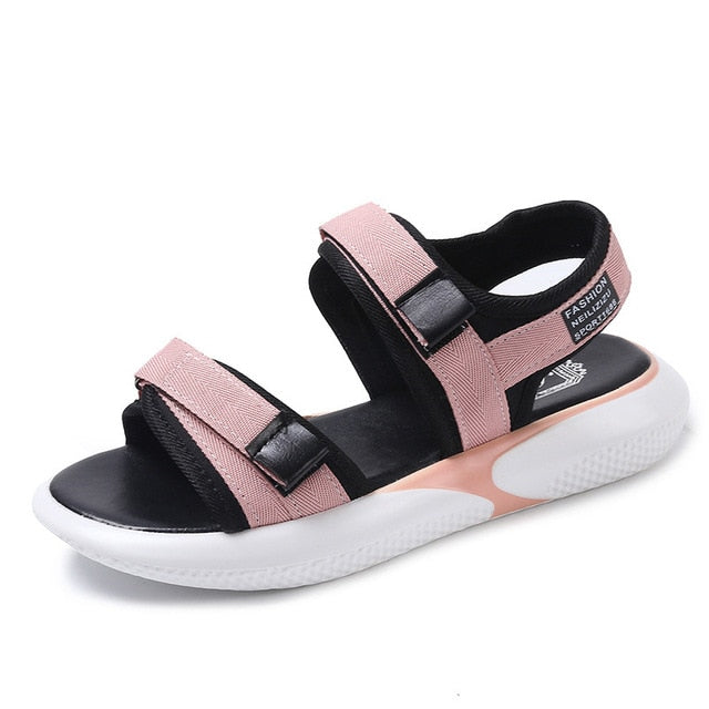 Foreign Trade Plus-sized Women Shoes Sports Sandals Student Korean-style Plus-sized Casual Velcro Platform Thick Bottomed Sandal