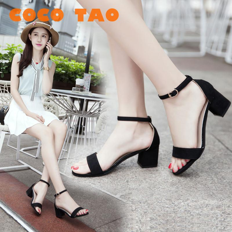 Sandals Female Summer 2019 New Fashion In Korean Edition For Students Coarse-heeled High Women's Shoes Girl Square Heel Sandals