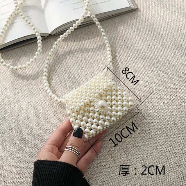 Mini Pearl Bag Handmade Vintage EVA Beaded Fashion Banquet Party Shoulder Bag Female 2019 Wedding Bags Luxury Women's Coin Purse