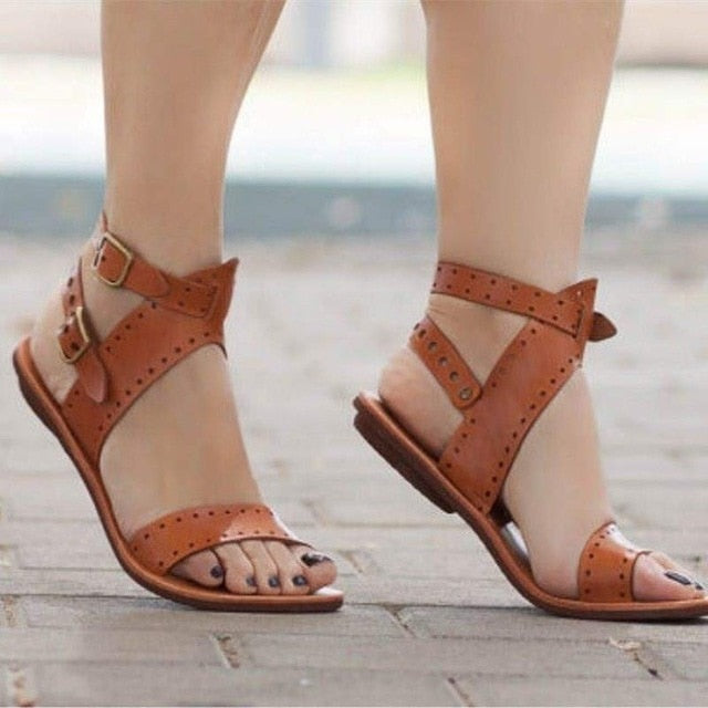 Women Sandals  Flat Gladiator Leather Sandals Summer Shoes Woman Rome Style Double Buckle Casual Beach Sandles Plus Size hjm7