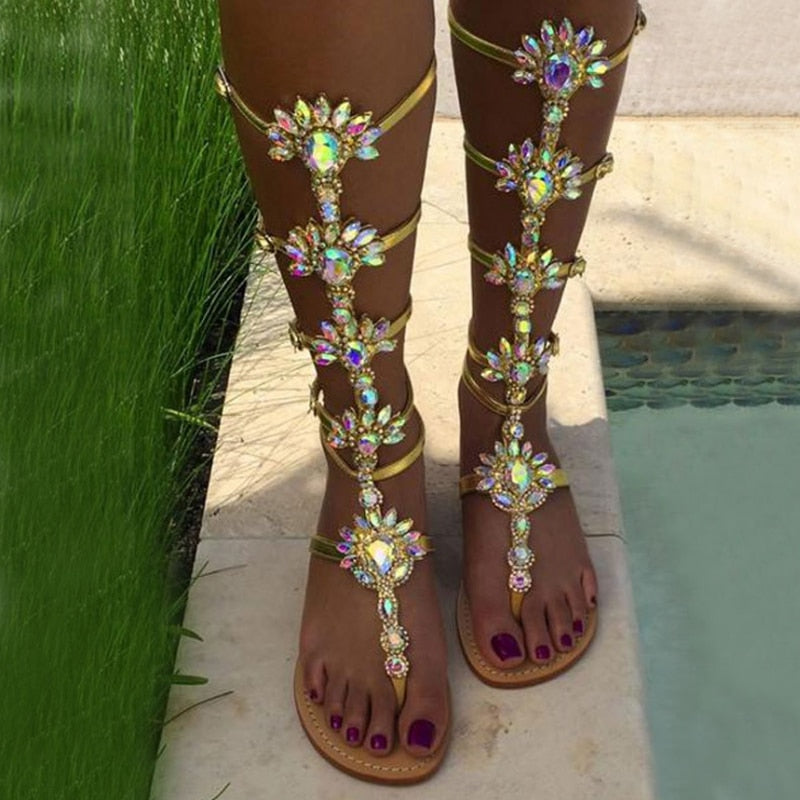 Woman Bohemia Sandal Boots Rhinestone Lady Knee High Boots Thin High Heels Stiletto Crystal Dress Summer Shoes Sandalias