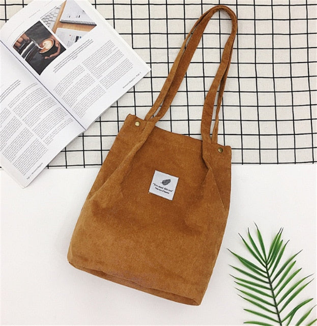 Women Corduroy Shopping Bag Female Canvas Cloth Shoulder Bag Environmental Storage Handbag Reusable Foldable Eco Grocery Tot