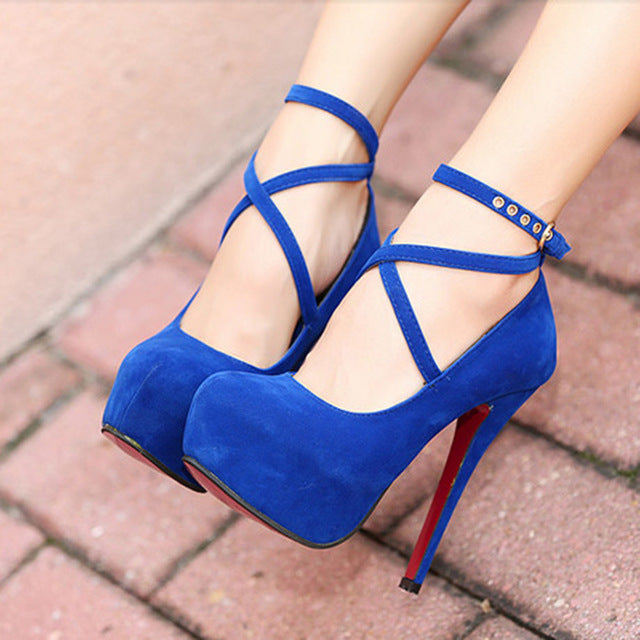 Shoes Woman Pumps Cross-tied Ankle Strap Wedding Party Shoes Platform Dress Women Shoes High Heels Suede Ladies Shoes Plus Size