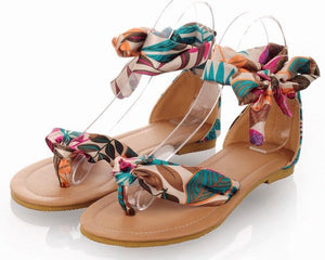 Casual Flower Print - Ankle Strap Sandals