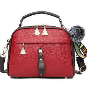Tassel Messenger Shoulder Bag For Women PU Leather Handbag Lady Boston Hairball Messenger Bags ladies Luxury Crossbody Totes Bag