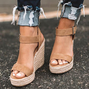 Summer 2019 New Women Sandals Open Toe Platform Wedges Sandals Comfort Fish Mouth Weave Causal High Heels Chaussures Plus 43