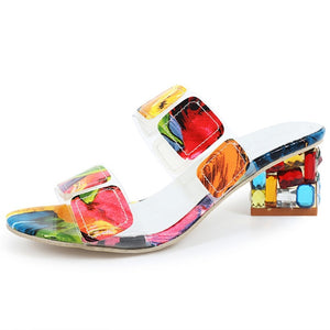 Multi Colors Square Heels