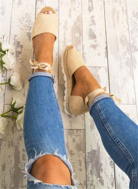Women Lace Up Espadrilles Sandals Cross-Tied Fish Mouth Cover Heel Sandals Lady Solid Open Side Ankle Straps Low Heel Shoes D30
