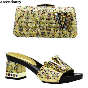 New Arrival African Matching Shoes and Bags Italian In Women Nigerian Women Wedding Shoes and Bag Set Decorated with Rhinestone