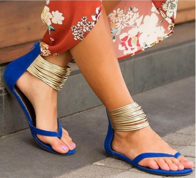 Women 2020 Summer Casual Flat Sandals Plus Size Flip Flops Female Flock Metal Decoration Zipper Ankle Wrap Shoes Leisure shoes