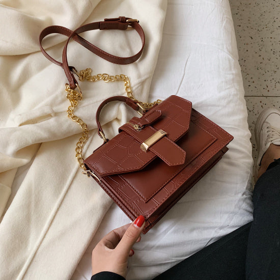 Stone Pattern PU Leather Solid Color Crossbody Bags For Women 2019 MINI Chain Shoulder Messenger Bag Lady Handbags