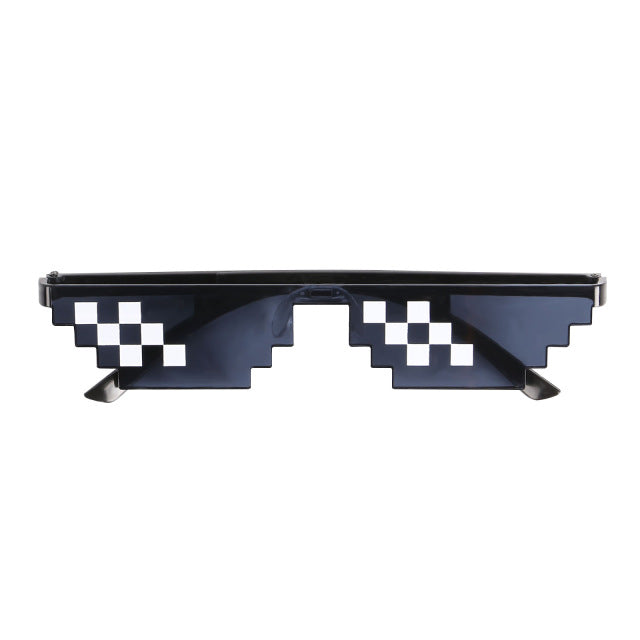 Thug Life Mosaic Glasses Sunglasses Men Women 8 Bit Coding Pixel Trendy Cool Super Party Funny Vintage Shades Eyewear