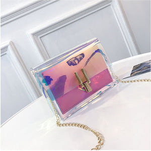 Fashion Women Transparent  Laser Chain Shoulder Bag Summer Beach Handbag