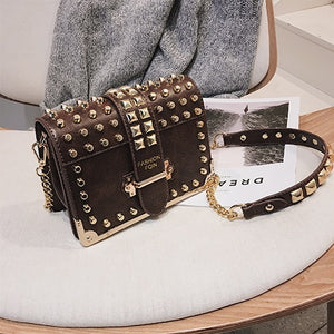 Luxury Brand Vintage Rivet bag 2019 Fashion New High Quality PU Leather Women's Designer Handbag Chain Shoulder Messenger bag