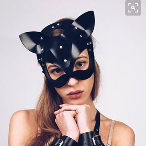 Women Sexy Mask Half Eyes Cosplay Face Cat Leather Mask Cosplay  Mask Masquerade Ball Carnival Fancy masks*