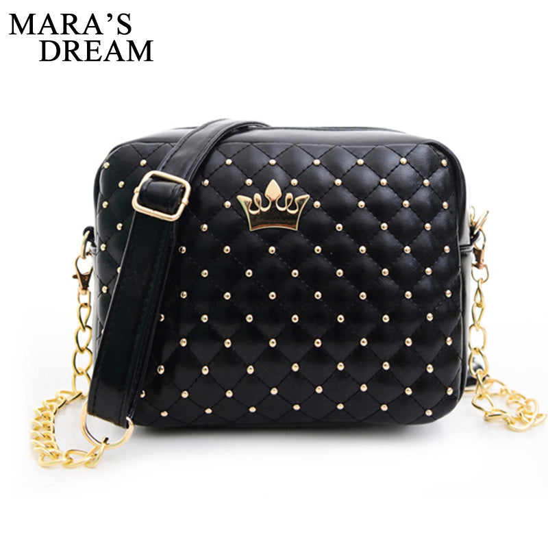 Mara's Dream Small Women Bag Fashion Handbag With Crown Mini Rivet Shoulder Bag Women Messenger Bag 2019 Hot Sale