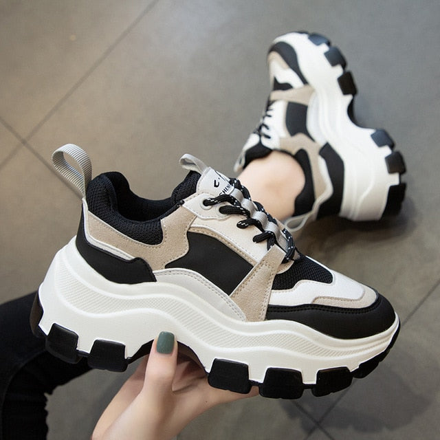 Women Chunky Sneakers Vulcanize Shoes Korean Fashion New Female Black White Platform Thick Sole Running Casual Shoe Woman 7cm