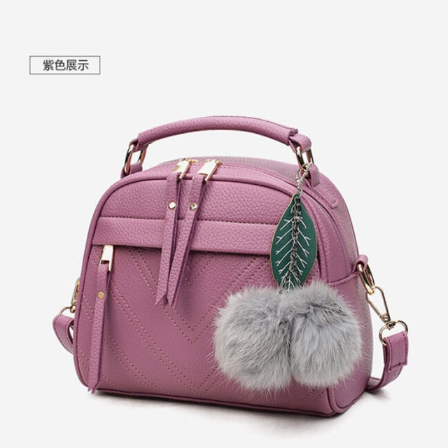 PU Leather Handbag for Women New Girl Messenger Bags with Fair Ball Tassel Fashion Female Shoulder Bags Ladies Party Handbags