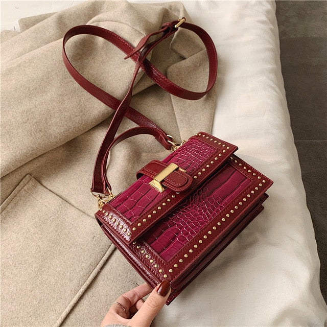 Rivets PU Leather Crossbody Bags For Women 2020 Fashion Shoulder Messenger Bag Female Travel  Handbags and Purses