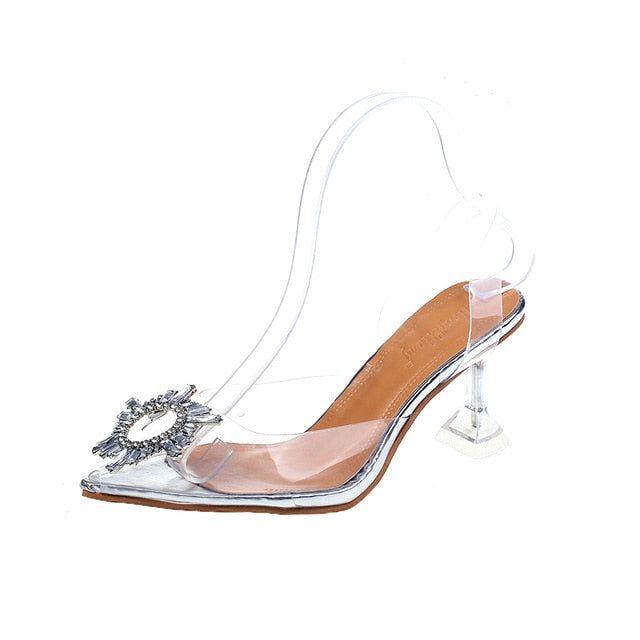 New Summer Transparent Sandals Women Women Elegant Sky High Heels Bling Crystal Shoes Woman Sexy Ladies Party Club Dress Shoes