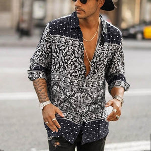 High Street Button Vintage  - Men Long Sleeve Shirt