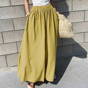 ZANZEA Oversized Women Wide Leg Pants 2019 Fashion Female Casual Elastic Waist Trousers Office Lady Loose Pockets Streetwear 5XL