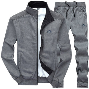 Tracksuits Men Polyester Sweatshirt Sporting Fleece 2019 Gyms Spring Jacket + Pants Casual Men's Track Suit Sportswear Fitness
