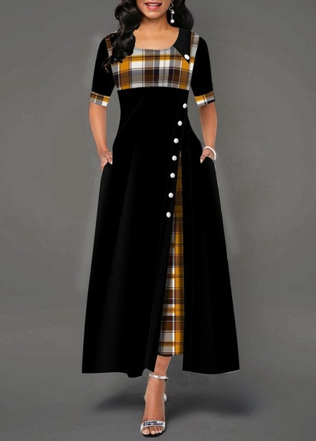 Irregular Plaid Button Maxi Dress