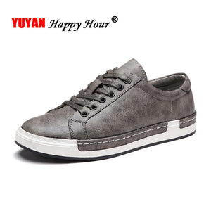 New Fashion Sneakers Men Shoes Brand Soft Leather Mens Casual Shoes Male Footwear Classic Black White Shoes Yellow Grey K017