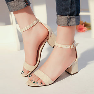Summer Sandals Fish Mouth Women Sandals Suede T tied High Heels Square Heel Woman Buckle Shoes size 35-42