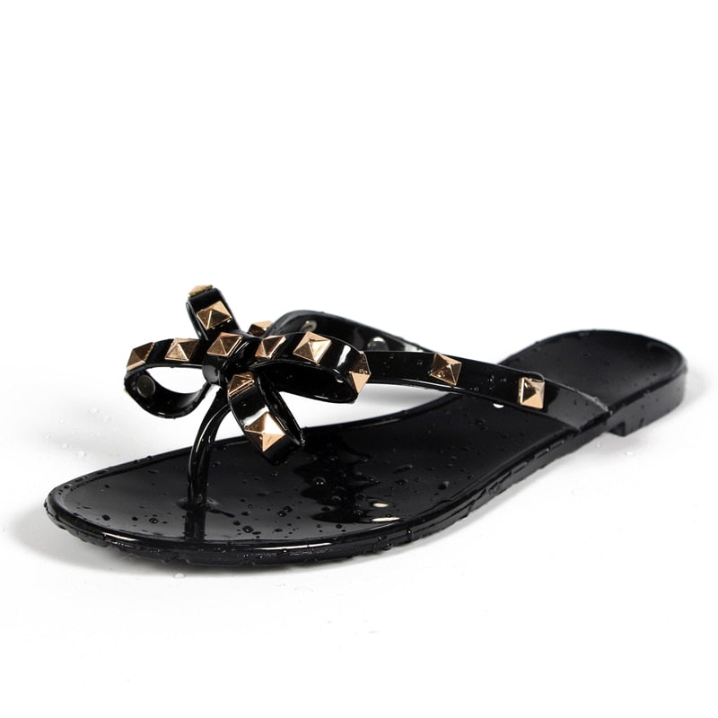 Rivets Big Bow Flip Flops
