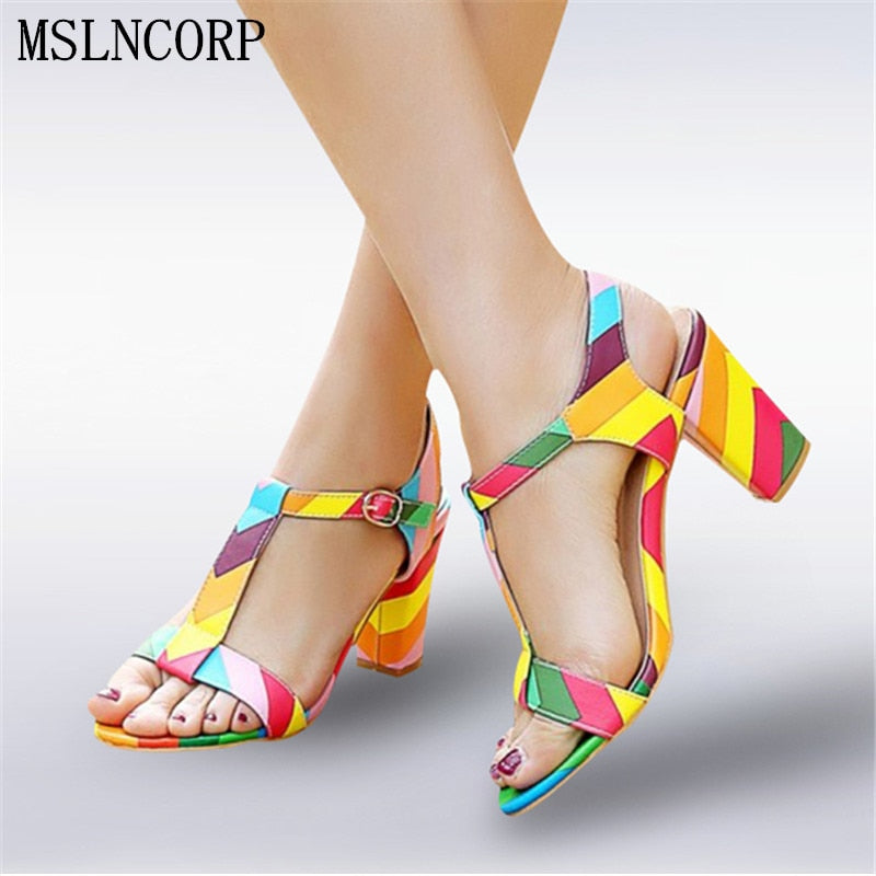 Plus Size 34-44 Summer Patent Leather Women Sandals Fashion Square High Heels Ladies Pumps Sexy Party Dress Shoes Woman Sandals