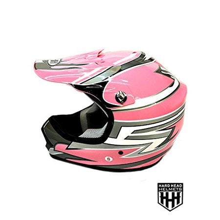 HHH DOT Youth & Kids Helmet for Dirtbike ATV Motocross MX Offroad Motorcyle Street bike Snowmobile Helmet with VISOR-Pink-Stripe-USA
