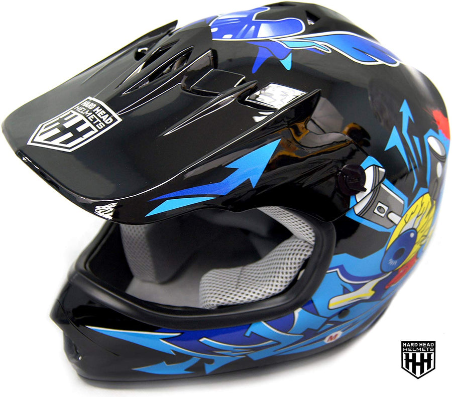 HHH DOT Youth & Kids Helmet for Dirtbike ATV Motocross MX Offroad Motorcyle Street bike Snowmobile Helmet with VISOR-Blue-Black-USA