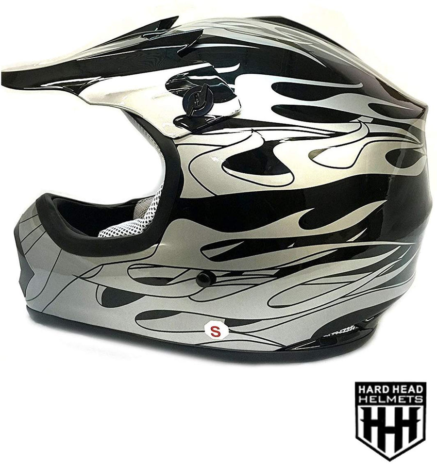 HHH DOT Youth & Kids Helmet for Dirtbike ATV Motocross MX Offroad Motorcyle Street bike Snowmobile Helmet with VISOR-Black-Flame-USA